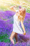 Beautiful woman on lavender field