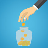 Businessman hand throwing a glass jar gold coin.