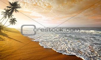 Wavy clouds over ocean