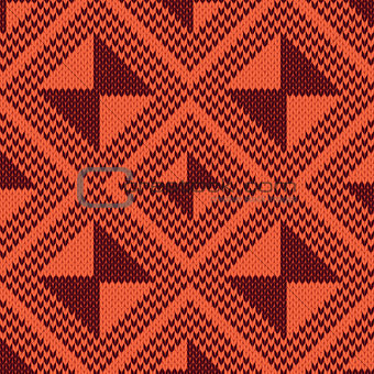 Knitted Seamless Pattern in orange and brown hues