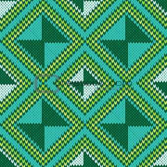 Knitted Seamless Pattern mainly in turquoise and green