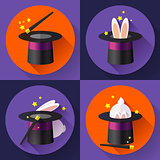 Set of icons Funny Rabbit in a magic hat