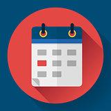 Calendar or mobile app organizer icon, vector illustration. Flat design style