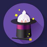 Funny Rabbit in a magic hat