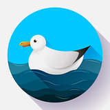 Flat seagull character icon on blue sea background