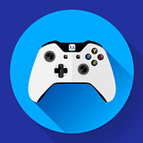 White wireless Game controller with long shadow