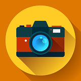 Vintage photo camera icon with long shadow. Flat design style.