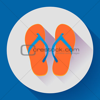Beach sandals or slippers icon with long shadow. Flat design style.