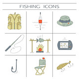 Fishing color icons.