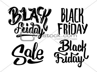 Black Friday Sale Typography Vector Stickers