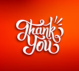 Thank You 3D inscription on red background