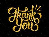 Thank You golden handdrawn lettering