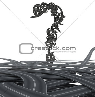 3D rendering of Asphalt question mark