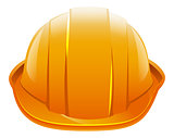 Protective helmet. Orange construction helmet