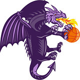 Dragon Fire Holding Basketball Isolated Retro