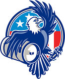American Bald Eagle Beer Keg Flag Circle Retro