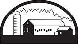 Farm Barn House Silo Black and White