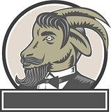 Goat Beard Head Circle Woodcut