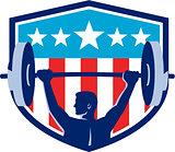 Weightlifter Lifting Barbell Rear Flag Shield Retro