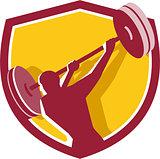 Weightlifter Swinging Barbell Rear Crest Retro