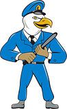 Bald Eagle Policeman Baton Cartoon