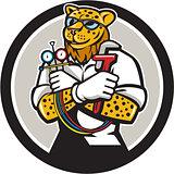 Leopard Heating Specialist Mechanic Circle Cartoon