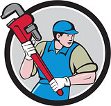 Plumber Running Monkey Wrench Circle Cartoon
