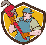 Plumber Running Monkey Wrench Crest Cartoon