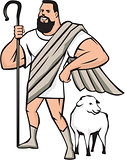 Superhero Shepherd Sheep Standing Cartoon