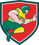 American Football Running Back Charging Crest Cartoon