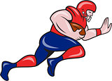 American Football Running Back Charging Cartoon