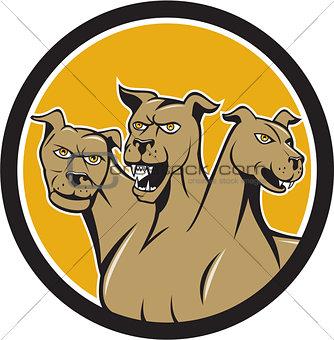 Cerberus Multi-headed Dog Circle Cartoon