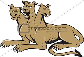 Cerberus Multi-headed Dog Hellhound Sitting Cartoon