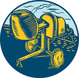 Concrete Mixer Circle Woodcut