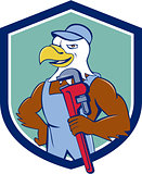 Bald Eagle Plumber Monkey Wrench Crest Cartoon