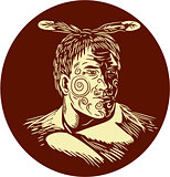 Maori Chieftain Head Oval Woodcut