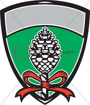 Thyrsus Pine Cone Staff Leaves Crest Retro