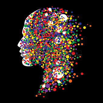 Abstract human head on black background.