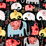 pattern of colorful elephants