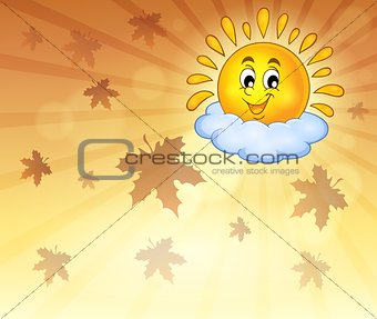 Autumn sky with cheerful sun