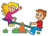 Children on seesaw theme image 1
