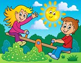 Children on seesaw theme image 2