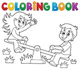 Coloring book children on seesaw theme 1