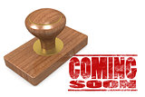 Coming soon wooded seal stamp