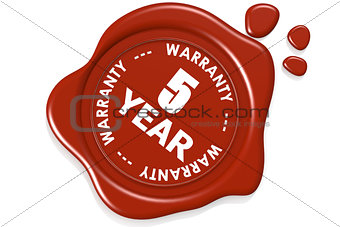 Five year warranty seal isolated on white background