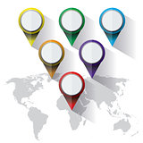 World Map Colorful Markers