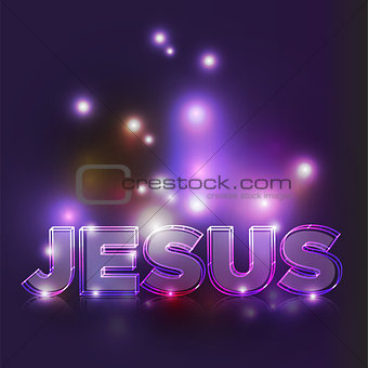 Abstract Glowing Jesus Text Illustration