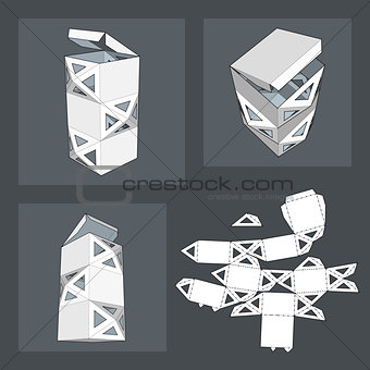 Box with Die Cut Template. Packing box For Food, Gift Or Other Products. On White Background Isolated. Ready For Your Design. Product Packing Vector EPS10.