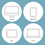Set of electronic outline icons