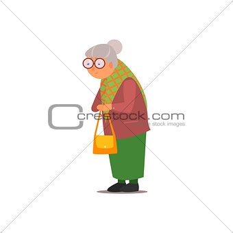Old Lady Vector Illustration